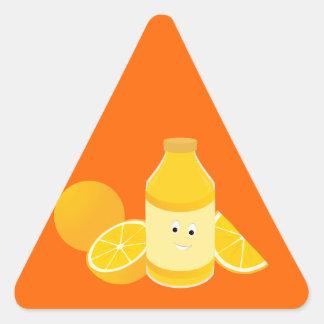 Smiling bottle of orange juice with oranges stickers