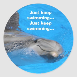Smiling Bottlenose Dolphin Classic Round Sticker