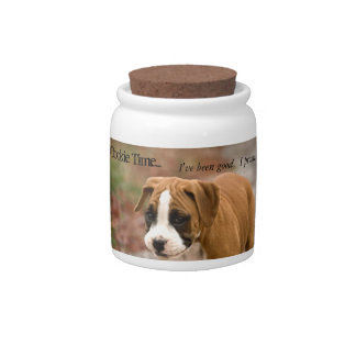 Smiling Boxer Dog, Dog Cookie Treats Jar Candy Dish