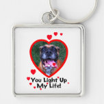 Smiling Boxer Dog Square Keychain