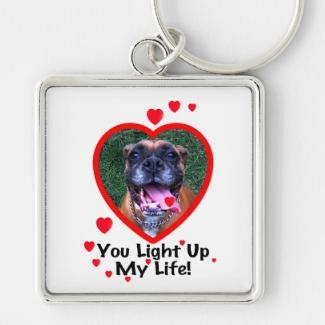 Smiling Boxer Dog Square Keychain