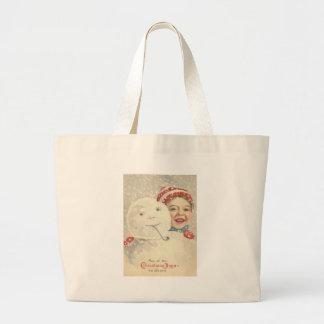 Smiling Boy Snowman Snow Pipe Knit Hat Canvas Bag