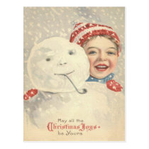 Smiling Boy Snowman Snow Pipe Knit Hat Postcard