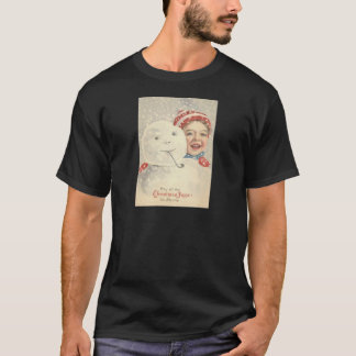 Smiling Boy Snowman Snow Pipe Knit Hat T-Shirt