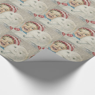 Smiling Boy Snowman Snow Pipe Knit Hat Wrapping Paper