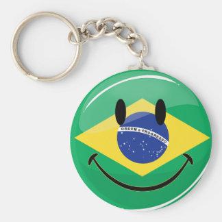 Smiling Brazilian Flag Basic Round Button Keychain