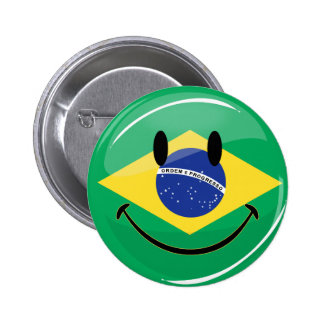 Smiling Brazilian Flag Button