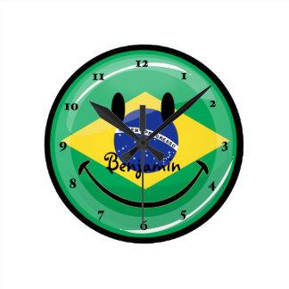 Smiling Brazilian Flag Round Clock