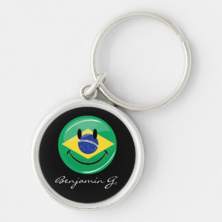 Smiling Brazilian Flag Silver-Colored Round Keychain