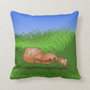 Smiling brown ant in lush green meadow throw pillow