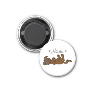 Smiling Brown Puppy Dog Roll Over Magnet