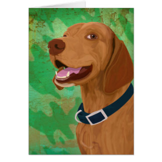 Smiling Brown Vizsla on Green Background Greeting Card