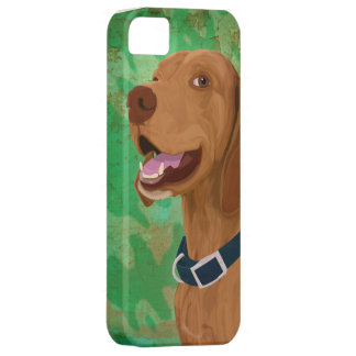 Smiling Brown Vizsla on Green Background iPhone SE/5/5s Case