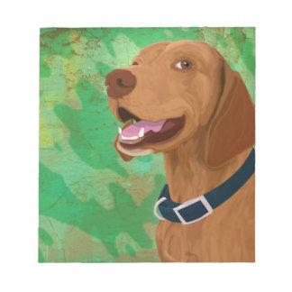 Smiling Brown Vizsla on Green Background Notepad