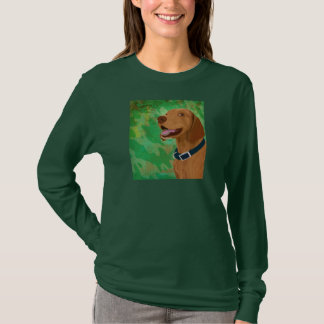 Smiling Brown Vizsla on Green Background T-Shirt