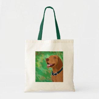 Smiling Brown Vizsla on Green Background Tote Bag