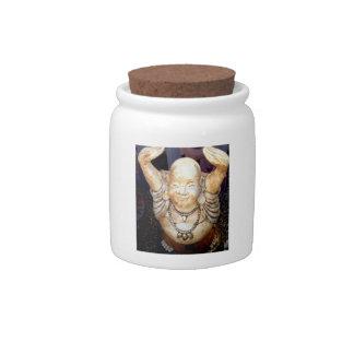 smiling buddha candy jar