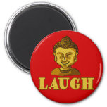 Smiling Buddha with Text LAUGH Tees and Gifts 2 Inch Round Magnet