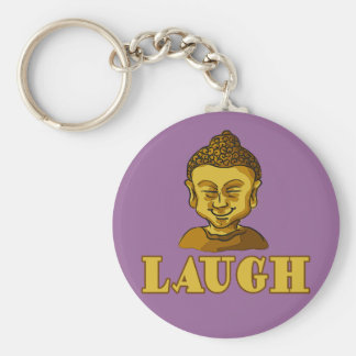 Smiling Buddha with Text LAUGH Tees and Gifts Keychain