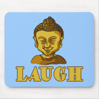 Smiling Buddha with Text LAUGH Tees and Gifts Mouse Pads