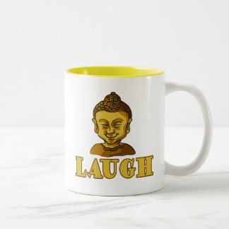 Smiling Buddha with Text LAUGH Tees and Gifts Two-Tone Coffee Mug