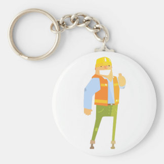 Smiling Builder Showing Thumbs Up On Construction Keychain