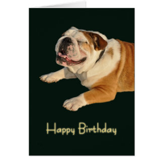 Smiling Bulldog Birthday Card