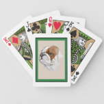Smiling Bulldog Portrait Playing Cards