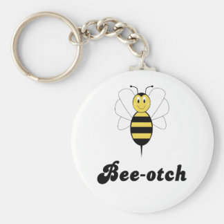 Smiling Bumble Bee Bee-otch Keychain