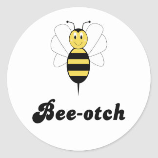 Smiling Bumble Bee Bee-otch Sticker