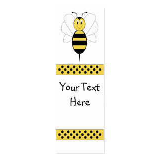 Smiling Bumble Bee Bookmark Double-Sided Mini Business Cards (Pack Of 20)