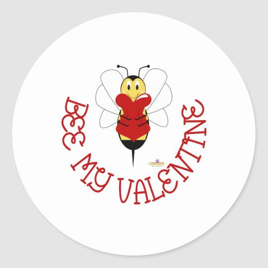 Smiling Bumble Bee Hugs Heart Bee My Valentine Classic Round Sticker