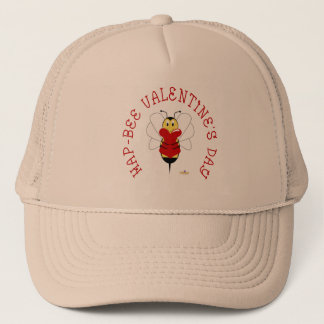 Smiling Bumble Bee Hugs Heart Hap-bee Valentine's  Trucker Hat