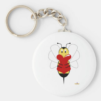 Smiling Bumble Bee Hugs Heart Keychain