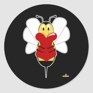 Smiling Bumble Bee Hugs Heart Round Stickers