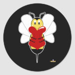 Smiling Bumble Bee Hugs Heart Classic Round Sticker
