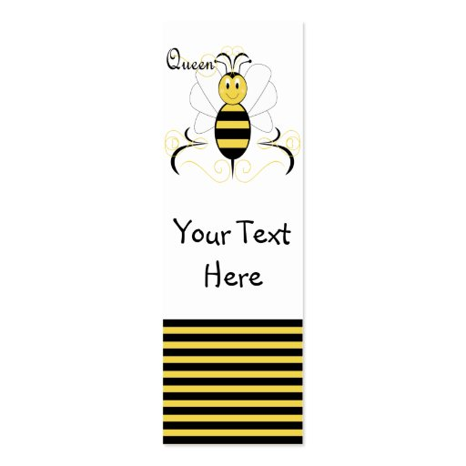 Smiling Bumble Bee Queen Bee Bookmark Business Card TemplateQueen Bee Template