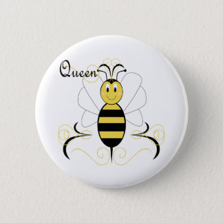 Smiling Bumble Bee Queen Bee Button