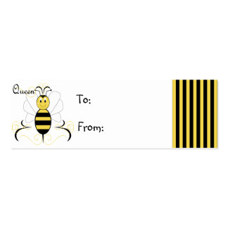 Smiling Bumble Bee Queen Bee Gift Tag Business Card Templates