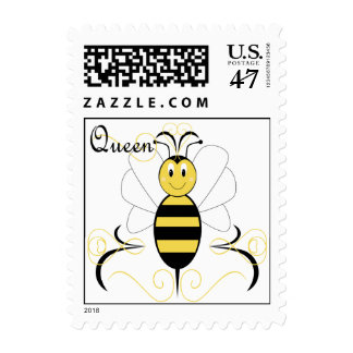 Smiling Bumble Bee Queen Bee Postage Stamp