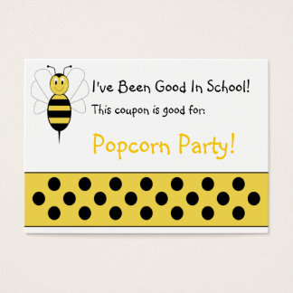 Smiling Bumble Bee School Coupon Business Card