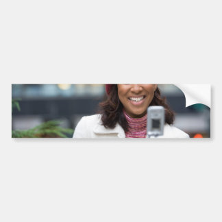 Smiling Business Woman with Cell Phone Bumper Sticker