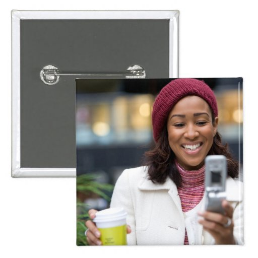 Smiling Business Woman with Cell Phone Button