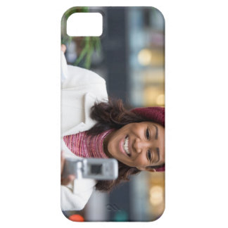 Smiling Business Woman with Cell Phone iPhone 5 Cases