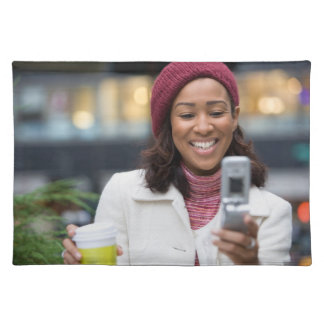 Smiling Business Woman with Cell Phone Cloth Placemat