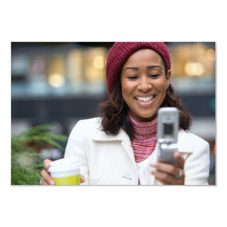Smiling Business Woman with Cell Phone 3.5x5 Paper Invitation Card
