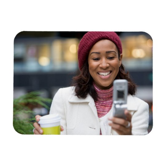 Smiling Business Woman with Cell Phone Magnet