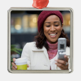 Smiling Business Woman with Cell Phone Ornament