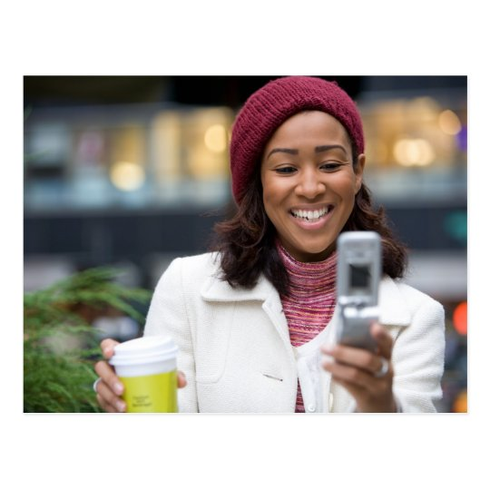 Smiling Business Woman with Cell Phone Postcard