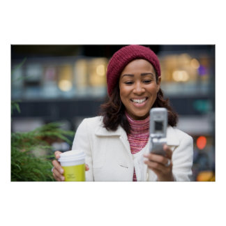 Smiling Business Woman with Cell Phone Poster